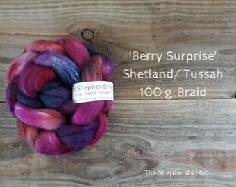 Shetland / Tussah Silk hand dyed braid 'Berry Surprise' 100 g  3.5 oz