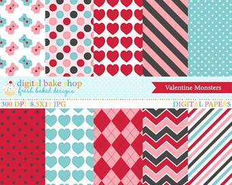 valentine's day valentines papers - Valentine Monsters Digital Papers