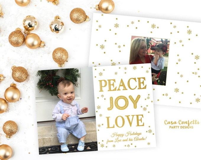 Peace Joy and Love Christmas Photo Card, Holiday Photo Card, Gold Christmas Photo Card, Snowflake Confetti Christmas Photo Card