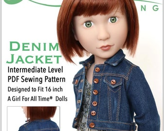 Pixie Faire Liberty Jane Denim Jacket Doll Clothes Pattern for A Girl For All Time Dolls - PDF