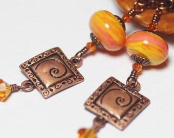 Handmade Jewelry, Handmade Earrings, Beaded, Lampwork Earrings, Jewelry, Crystal, Orange, Yellow, Antique Copper, Long, Nautilus, Southwest