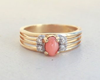 Vintage Genuine Coral and Clear Swarovski Crystals 18k Yellow Gold Electroplated Band Made in USA #R1318