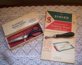 Kleencut Pinking Shears - Vintage Tracing Wheel - Tracing Paper