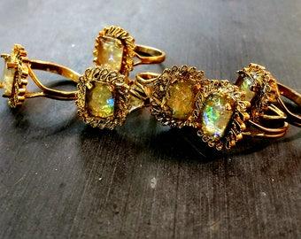 Vintage Ring, Brass bezel ring, sparkle ring