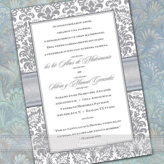 50th wedding anniversary, 50th wedding anniversary invitations, Spanish 50th anniversary, silver wedding anniversary, IN672