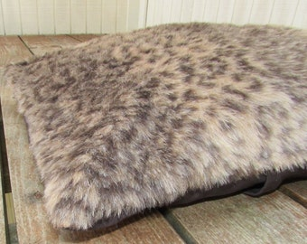 Pet Bed Cover Duvet, Furry Leopard Print & Brown Twill, Canine Cloud Dog Bed Cover 24 x 18, Pet Furniture, Gift