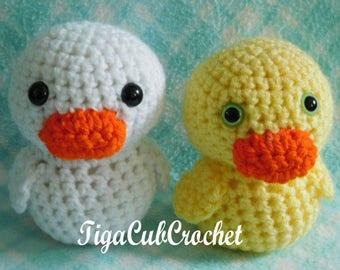 Crochet Small Yellow and Orange Duck Duckling Bird Animal Cute Amigurumi Plush Made To Order