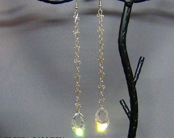 "Wire wrapped / Swarovski Crystal AB, Earrings - 14k Gold Filled Earwires - 5"" - Hand Crafted Artisan Jewelry"