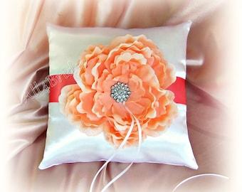 Weddings ring pillow, Coral ring bearer pillow