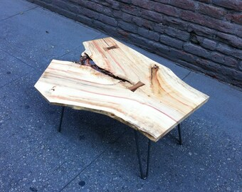 SOLD - Boxelder Live Edge Coffee Table with Beautiful Figuring
