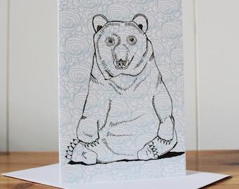 Bear Notecard - thank you card - notecard - blank notecard - note card - notecard set -  bear card - woodland animal card - animal card