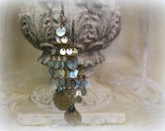 adMission one of a kind vintage assemblage shoulder duster earrings playful fUn boHo style vintage shells & holy medals antique buttons