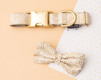 Champagne & Gold Dog Collar and Bow Tie Set - Metallic Wedding Dog or Cat Collar