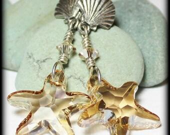Sandy Breeze... Handmade Jewelry Earrings Beaded Starfish Sea Star Seashell Clam Shell Beach Sand Honey Amber Silver Crystal Post Dangle