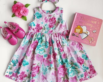 little girls floral teaparty dress, with gorgeous cut out back
