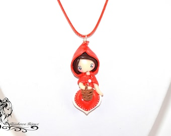 Red Riding Hood in polymer clay necklace