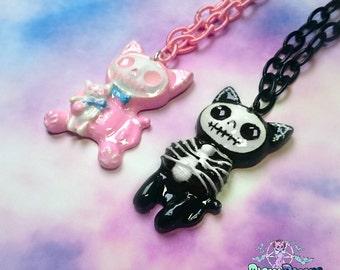 skeleton Kitties, cat,  Resin, -  Kawaii, pastel goth,creepy cute,halloween