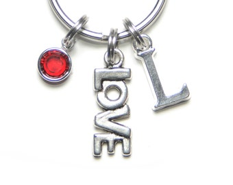 LOVE Keyring, Cut Out Initial Letter, Personalized, Keychain, Swarovski Birthstone, Lovers, Keyring, Romantic, Keychain, Gift