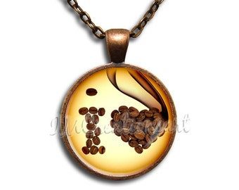 I Love Coffee Glass Dome Pendant or with Chain Link Necklace BF127