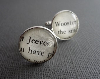 Men's Gift, Silver Cufflinks, Jeeves and Wooster, Unique Book Cufflinks, Husband Gift