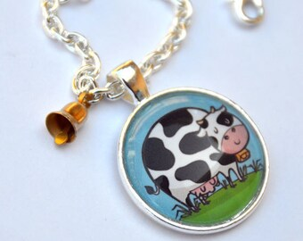Cute Cow Pendant Necklace moo moo cow kawaii calf animal jewelry cow accessory cowbell bell chain necklace how now cow mooo animal farm barn