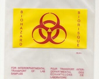 10 UNUSED BIOHAZARD BIORISQUE plastic bags