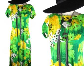 Lime Green Yellow White & Black Vintage Floor Length Empire Waist Dress - size 12