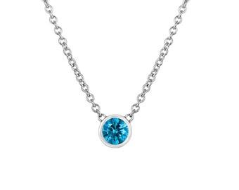 0.25 Carat Blue Diamond Solitaire Pendant Necklace, Diamond By The Yard Pendant Necklace, 14k White Gold Handmade Low Bezel Set