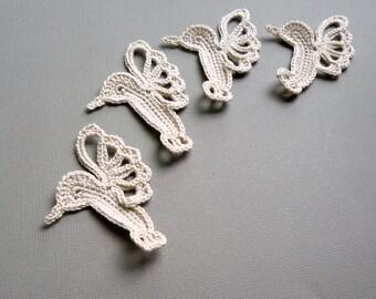 4 Beige Hummingbird Appliques -- Crochet Appliques