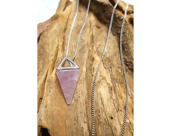 Rose Quartz Pyramid Long Chain Necklace