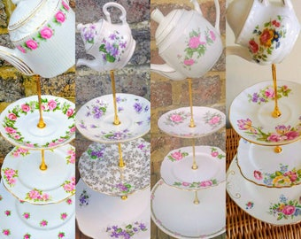 2 (8pc) Vintage Mismatched China Mix 3 Tier Cake Stands Teapot Topper Tray Wedding Centrepiece Afternoon Tea Crockery Mad Hatters Party
