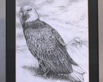 American Bald Eagle original pencil drawing with a nature themed background [FREE SHIPPING U.S.]