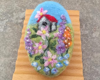 Felted Goat Milk Soap - Blackberry Green Tea Scented with a Floral Garden Theme