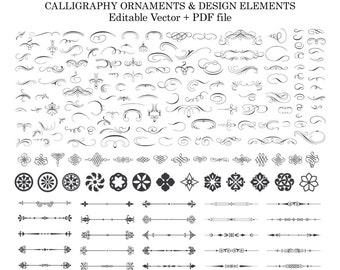Calligraphy Clipart Calligraphy Design Elements Ornament Clipart Laurel Wreath Clipart Clip Art PNG Vector SVG EPS Instant Download