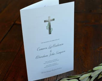 Wooden Cross and Greenery Wedding Program - Catholic Mass Marriage Ceremony - Wedding Programs - Order Of Service - Religious Programs