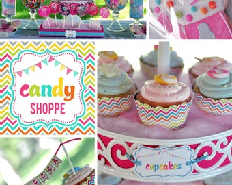 DIY printable birthday party package - candy shoppe
