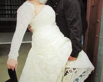 Wedding Shrug Bolero, BRIDAL Cover Up, Bridal Shrug, Wedding Bolero, with Gathered Cuff