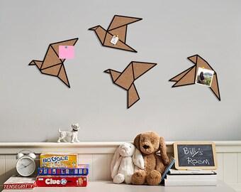 4 Birds of cork - cork board, Wall hooks, Wall decor, Minimalist geometric wall art