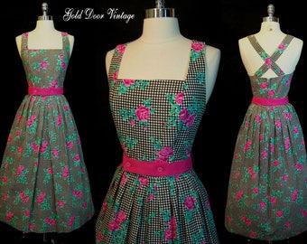 Vintage LANZ ORIGINAL 80s Does 50s Gingham Rose Floral Halter Sun Dress S/M