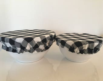 Travel Food Bowl Cover Lid Reusable Picnic Black White Gingham (2pcs)