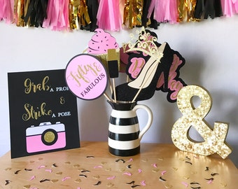 Fifty & Fabulous Birthday Photo Booth Props   Pink, Black, and Gold Photo Booth Props   Birthday Photo Booth Props