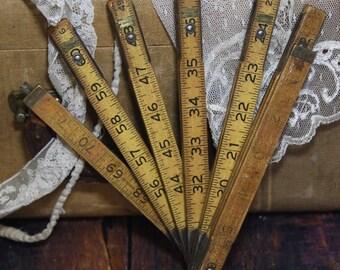Natural Wooden Extension Lufkin RULER with Metal Slide Out Rule- Vintage Measurement- Wood- A22
