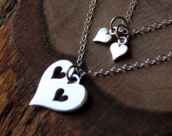 Mother Heart Necklace - Double Strand Necklace - Sterling Silver