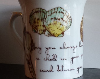 "One of a kind Sea Shells Hand Painted Porcelain Coffee Tea Cup with Quote ""Shell in Pocket"" Mug Kiln Fired"