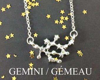 Zodiac Necklace - Astrology Necklace - Gemini Necklace - Constellation Necklace - Gemini Jewelry - June - Birthday Gift - Zodiac Symbol