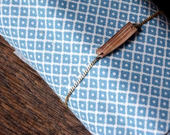 Asymmetrical wooden Bangle Bracelet