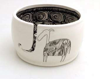 Collaboration with Virginia Kraljevic, yarn bowl, one of a kind, limited edition, llama yarn bowl