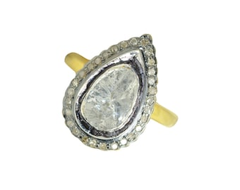 Rose cut DIAMOND Ring Sterling silver pave diamond gold plated jewelry