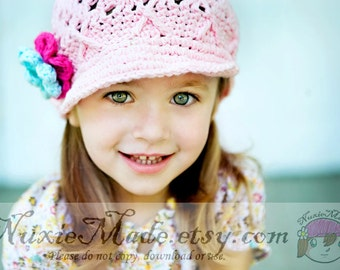 2T-4T Flower Beanie with Brim in Pastel Pink, Newsboy Hat, Child Crochet Hat, Hat with Flowers, Winter Hat, Pink Girls Hat, Childrens Hat