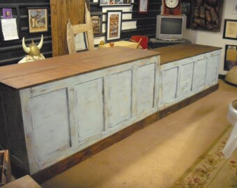 Distressed Retail Check-out Counter - Kitchen Island / Bar / Desk